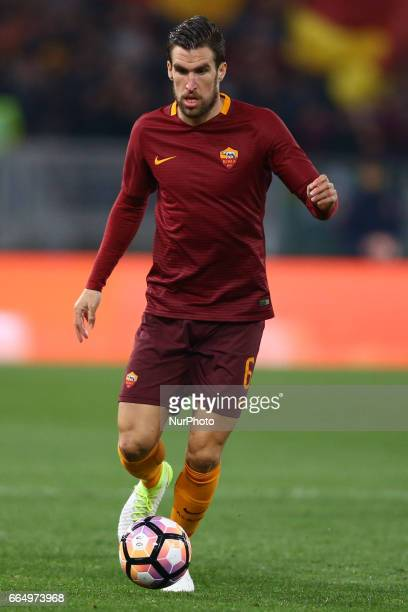 Kevin Strootman of Roma in action during the TIM Cup match between AS Roma and SS Lazio at Stadio Olimpico on April 4 2017 in Rome Italy