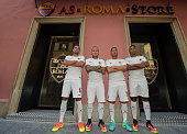 Kevin Strootman Radja Nainggolan Francesco Totti and Juan Jesus attend the opening of AS Roma new store at Via Del Corso on July 21 2016 in Rome Italy
