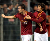 Kevin Strootman with his teammate Dodo of AS Roma celebrates after scoring the second team's goal during the Serie A match between AS Roma and AS...