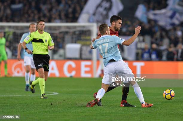 Kevin StrootmanCiro Immobile during the Italian Serie A football match between AS Roma and SS Lazio at the Olympic Stadium in Rome on november 18 2017