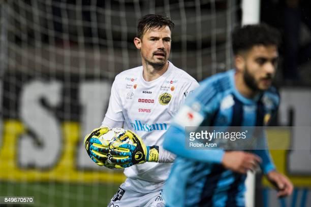 Kevin StuhrEllegaard goalkeeper of IF Elfsborg controls the ball during the Allsvenskan match between IF Elfsborg and Djurgardens IF at Boras Arena...