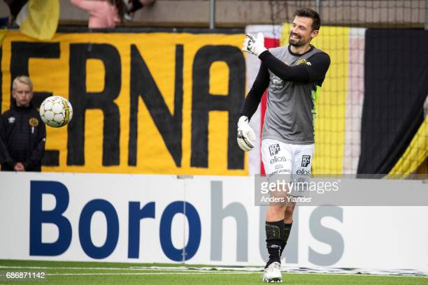 Kevin StuhrEllegaard goalkeeper of IF Elfsborg during warmup prior to the Allsvenskan match between IF Elfsborg and Jonkopings Sodra IF at Boras...