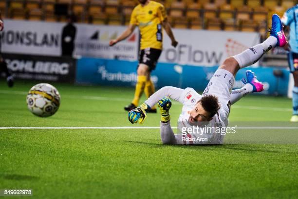 Kevin StuhrEllegaard goalkeeper of IF Elfsborg saves a ball during the Allsvenskan match between IF Elfsborg and Djurgardens IF at Boras Arena on...