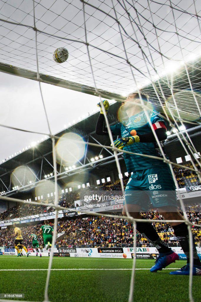 Kevin Stuhr-Ellegaard, goalkeeper of IF Elfsborg take down the ball from the net during the Allsvenskan match between IF Elfsborg and Hammarby at Boras Arena on July 17, 2017 in Boras, Sweden.