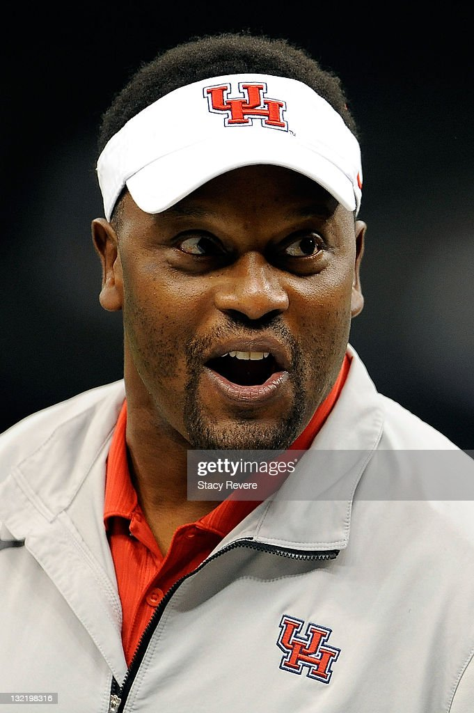 Kevin Sumlin, head coach of the University of Houston Cougars, looks on during a game against the Tulane Green Wave being held at the Mercedes-Benz Superdome on November 10, 2011 in New Orleans, Louisiana.
