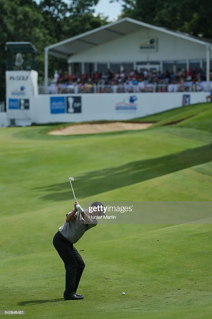 <a gi-track='captionPersonalityLinkClicked' href=/galleries/search?phrase=Kevin+Sutherland&family=editorial&specificpeople=213708 ng-click='$event.stopPropagation()'>Kevin Sutherland</a> hits his second shot on the 18th hole during the first round of the Champions Tour American Family Insurance Championship at University Ridge Golf Course on June 24, 2016 in Madison, Wisconsin.
