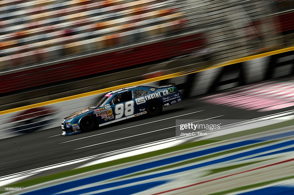 Kevin Swindell, driver of the #98 Carroll Shelby Engine Company Ford, during practice for the NASCAR Nationwide Series Dollar General 300 at Charlotte Motor Speedway on October 10, 2013 in Concord, North Carolina.