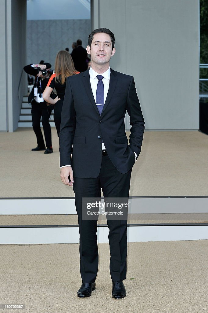 Kevin Systrom arrives at Burberry Prorsum Womenswear Spring/Summer 2014 show during London Fashion Week at Kensington Gardens on September 16, 2013 in London, England.