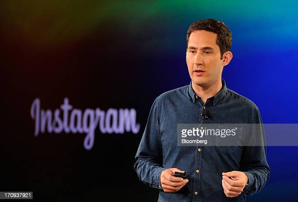 Kevin Systrom chief executive officer and cofounder of Instagram Inc speaks during an event at the Facebook Inc headquarters in Menlo Park California...