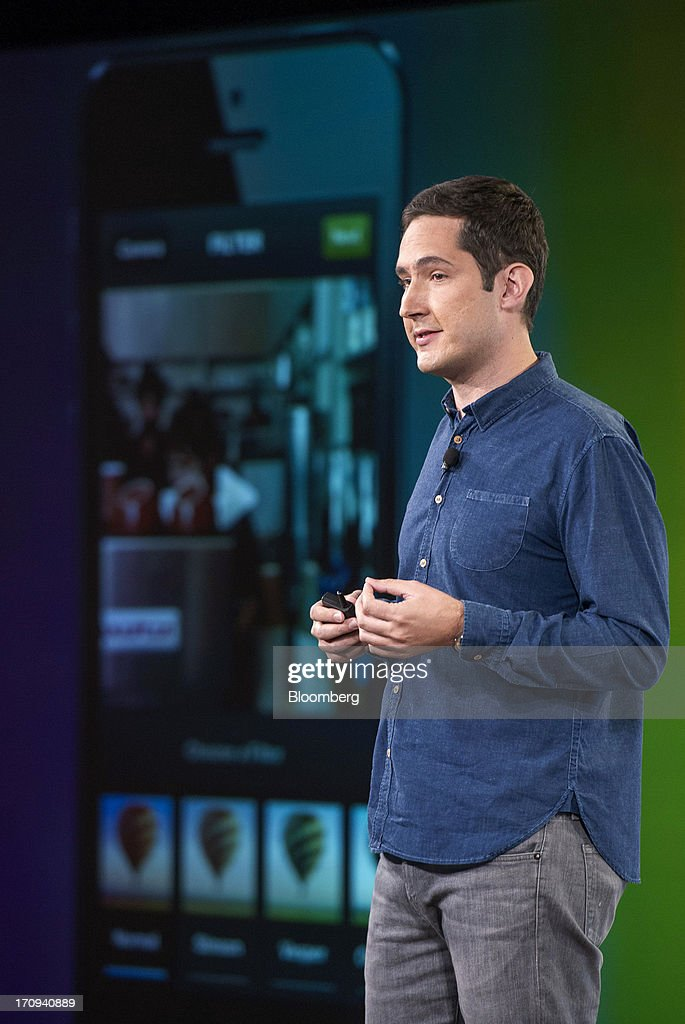 Kevin Systrom, chief executive officer and co-founder of Instagram Inc., speaks during an event at the Facebook Inc. headquarters in Menlo Park, California, U.S., on Thursday, June 20, 2013. Facebook Inc., operator of the largest social network, plans to unveil video-sharing tools, bringing its Instagram into closer competition with Twitter Inc., a person with knowledge of the matter said. Photographer: David Paul Morris/Bloomberg via Getty Images