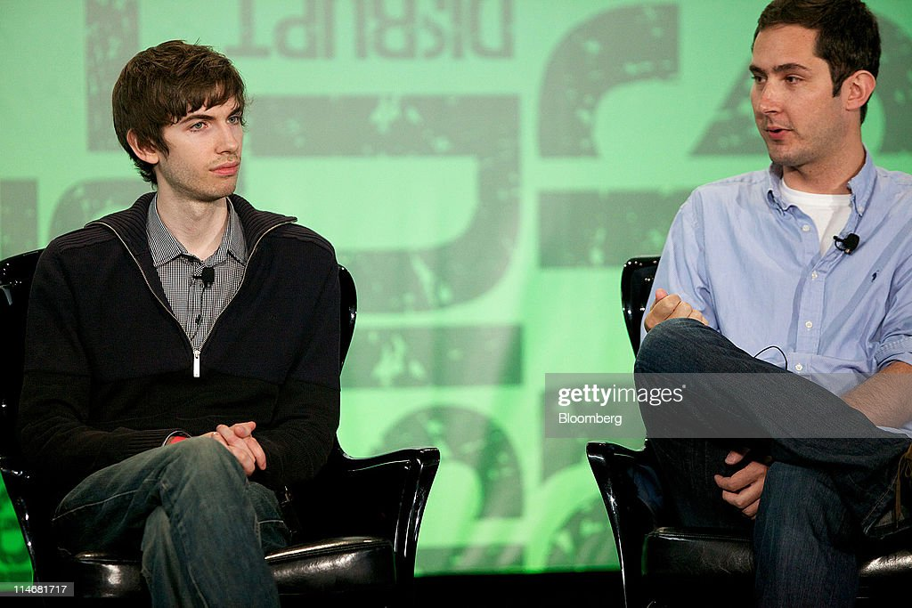 Kevin Systrom, chief executive officer of Istagram, right, while David Karp, a co-founder of Tumblr Inc., listens during an interview at the TechCrunch Disrupt NYC 2011 conference in New York, U.S., on Tuesday, May 24, 2011. The summit brings together leaders from various tech fields to discuss how the internet is disrupting industry after industry, from media and social commerce to payments and transportation. Photographer: Guy Calaf/Bloomberg via Getty Images