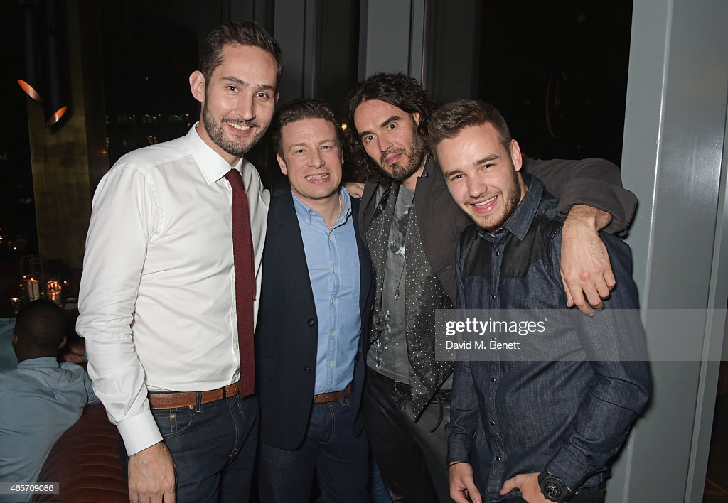 Kevin Systrom, Jamie Oliver, Russell Brand and Liam Payne attend a party hosted by Instagram's Kevin Systrom and Jamie Oliver. This is their second annual private party, taking place at Barbecoa on March 9, 2015 in London, England.