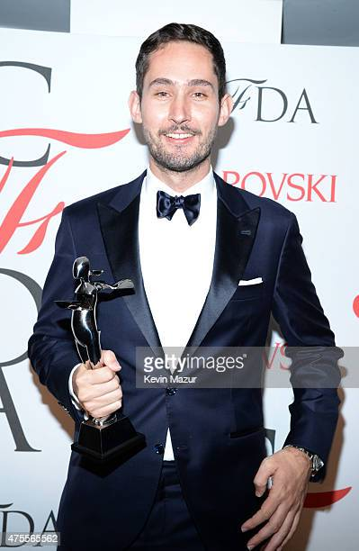 Kevin Systrom poses backstage at the 2015 CFDA Fashion Awards at Alice Tully Hall at Lincoln Center on June 1 2015 in New York City