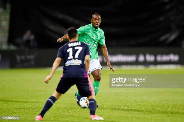 Kevin Theophile Catherine of Saint Etienne Adam Ounas of Bordeaux during the Ligue 1 match between As Saint Etienne and Girondins de Bordeaux at...