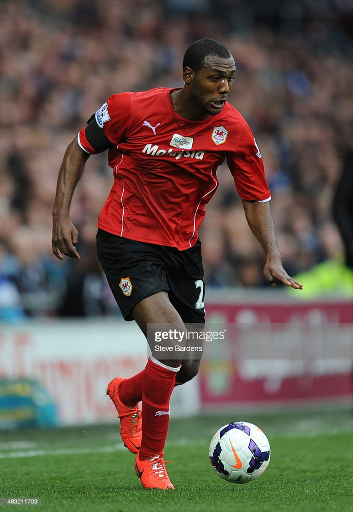 Kevin Theophile-Catherine of Cardiff City in action during the Barclays Premier League match between Cardiff City and Crystal Palace at Cardiff City Stadium on April 5, 2014 in Cardiff, Wales.