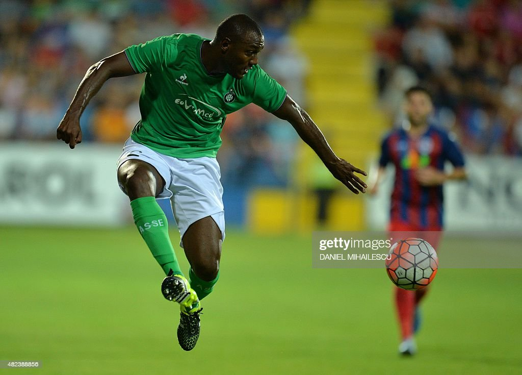 Kevin Theophile-Catherine of Saint-Etienne runs with the ball during the UEFA Europa League third qualifying round, first leg football match between Romania's ASA 2013 Tirgu Mures and AS Saint-Etienne in Targu Mures on July 30, 2015.