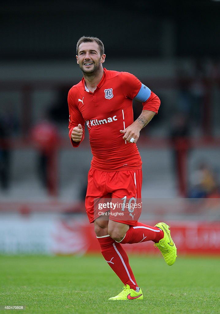 Kevin Thomson of Dundee during the Pre Season Friendly match between Morecambe and Dundee at the Globe Arena on July 19 2014 in Morecambe England