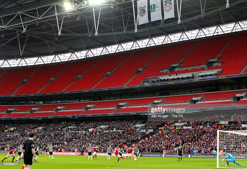 Kevin Thornton of Wrexham scores from the penalty spot for the equalizer during the FA Trophy Final between Wrexham and Grimsby Town at Wembley Stadium on March 24, 2013 in London, England.