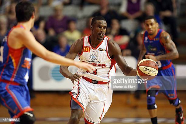 Kevin Tiggs of the Hawks brings the ball up during the round eight NBL match between the Adelaide 36ers and the Wollongong Hawks at Adelaide Arena in...