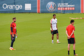 Kevin Trapp and Thiago Silva during Paris Saint Germain First Training Session on July 4 2016 in Camp des Loges SaintGermainenLaye France