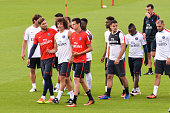 Kevin Trapp David Luiz Hatem Ben Arfa Hervin Ongenda and Layin Kurzawa during Paris Saint Germain First Training Session on July 4 2016 in Camp des...