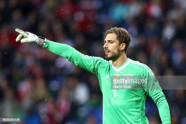 Kevin Trapp goal keeper of Germany reacts during the international friendly match between Denmark v Germany on June 6 2017 in Brondby Denmark