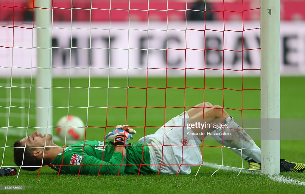 <a gi-track='captionPersonalityLinkClicked' href=/galleries/search?phrase=Kevin+Trapp&family=editorial&specificpeople=4409868 ng-click='$event.stopPropagation()'>Kevin Trapp</a>, keeper of Frankfurt reacts after receiving the first goal during the Bundesliga match between FC Bayern Muenchen and Eintracht Frankfurt at Allianz Arena on November 10, 2012 in Munich, Germany.