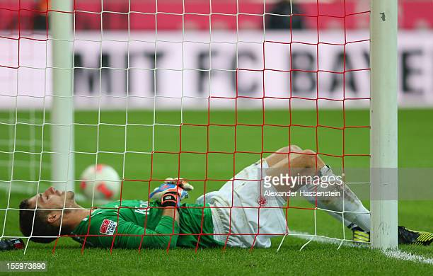 Kevin Trapp keeper of Frankfurt reacts after receiving the first goal during the Bundesliga match between FC Bayern Muenchen and Eintracht Frankfurt...