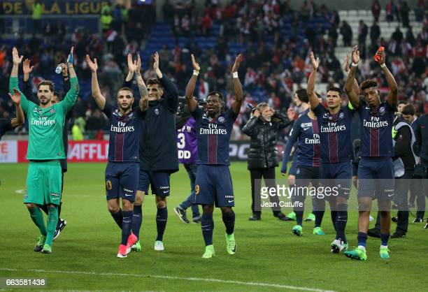 Kevin Trapp Layvin Kurzawa Thomas Meunier Serge Aurier Thiago Silva Presnel Kimpembe of PSG celebrate the victory following the French League Cup...