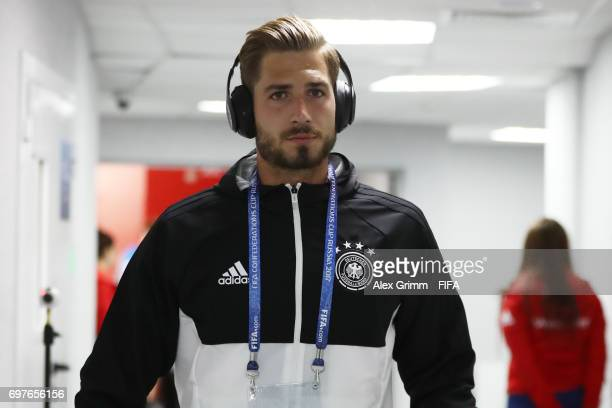 Kevin Trapp of Germany arrives at the stadium prior to the FIFA Confederations Cup Russia 2017 Group B match between Australia and Germany at Fisht...