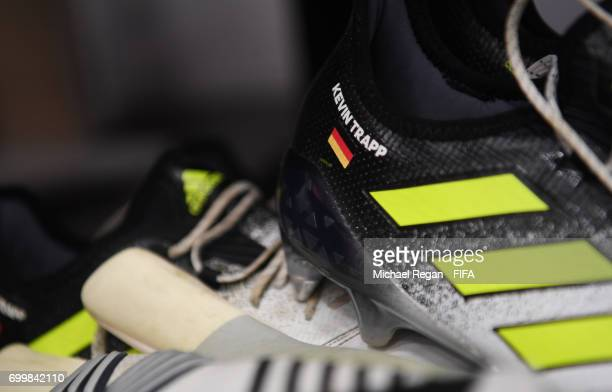 Kevin Trapp of Germany boots are seen inside the stadium prior to the FIFA Confederations Cup Russia 2017 Group B match between Germany and Chile at...