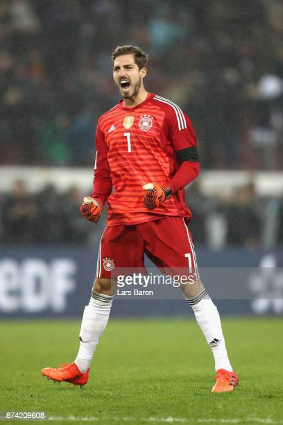 Kevin Trapp of Germany celebrates his sides first goal during the international friendly match between Germany and France at RheinEnergieStadion on...