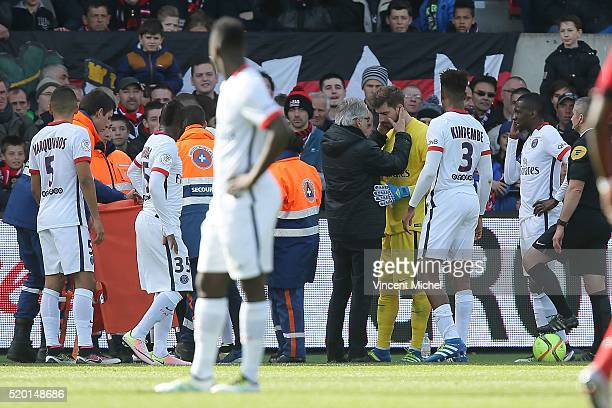 Kevin Trapp of Paris SaintGermain during the French League 1 match between EA Guingamp and Paris SaintGermain on April 9 2016 in Guingamp France
