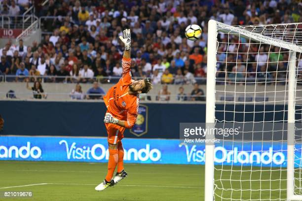 Kevin Trapp of Paris SaintGermain gets scored on by Christian Eriksen of Tottenham Hotspur during the International Champions Cup 2017 match between...