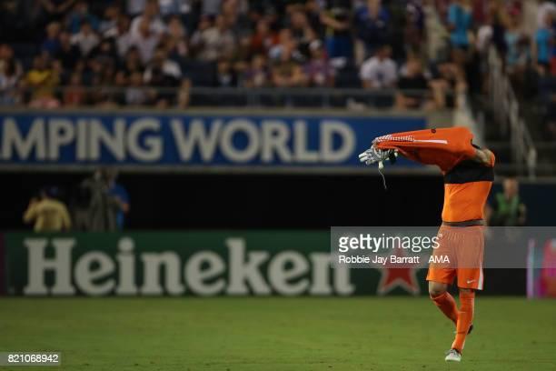 Kevin Trapp of Paris SaintGermain gets sent off during the International Champions Cup match between Paris SaintGermain and Tottenham Hotspur on July...