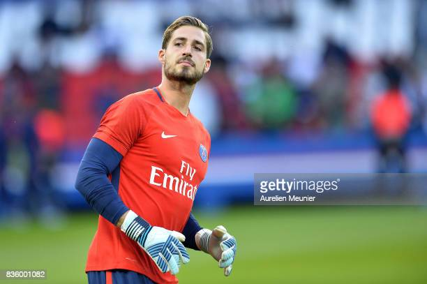Kevin Trapp of Paris SaintGermain reacts during warmup before the Ligue 1 match between Paris SaintGermain and Toulouse at Parc des Princes on August...