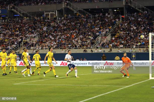 Kevin Trapp of Paris SaintGermain watches as the ball hits the goalpost during the International Champions Cup 2017 match between Paris SaintGermain...