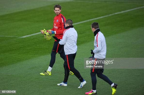 Kevin Trapp of PSG and Marco Verratti of PSG and Giovani Lo Celso of PSG during the Training Session of Paris Saint Germain at Camp des Loges on...
