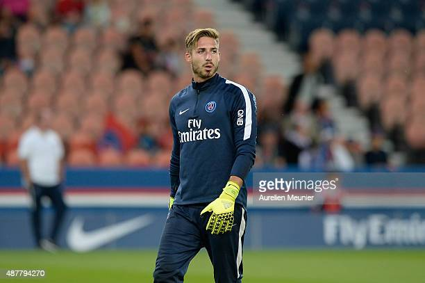 Kevin Trapp of PSG reacts during warm up before the Ligue 1 game between Paris Saint Germain and Girondins de Bordeaux at Parc des Princes on...