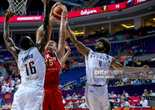 Kevin Tumba and Jonathan Tabu of Belgium in action against Timofey Mozgov of Russia during the FIBA Eurobasket 2017 Group D Men's basketball match...