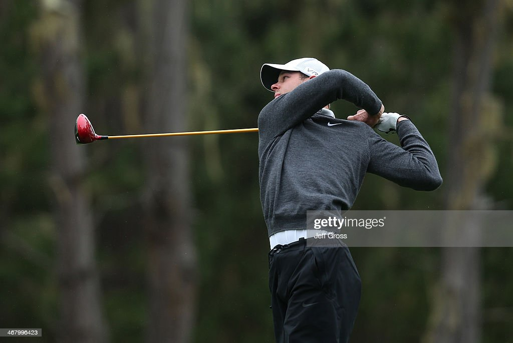 Kevin Tway hits a tee shot during the third round of the AT&T Pebble Beach National Pro-Am at the Spyglass Hill Golf Course on February 8, 2014 in Pebble Beach, California.