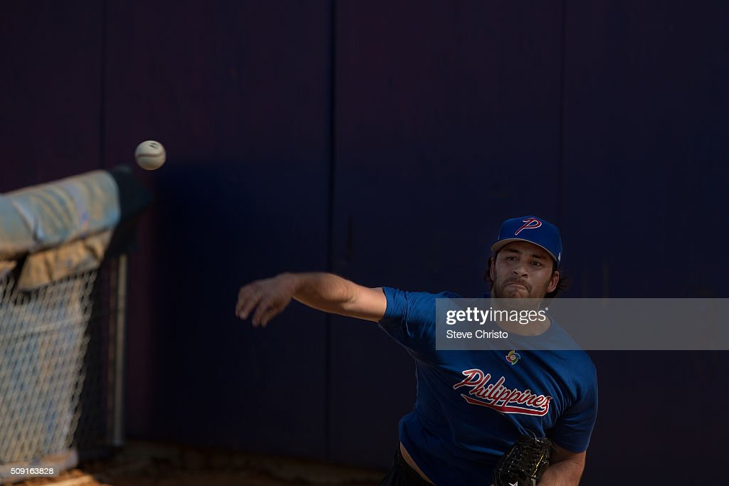 Kevin Vance #10 of Team Philippines throws in the bullpen during the workout for the World Baseball Classic Qualifier at Blacktown International Sportspark on Tuesday, February 9, 2016 in Sydney, Australia. (Photo by Steve Christo/WBCI/MLB Photos via Getty Images) Kevin Vance