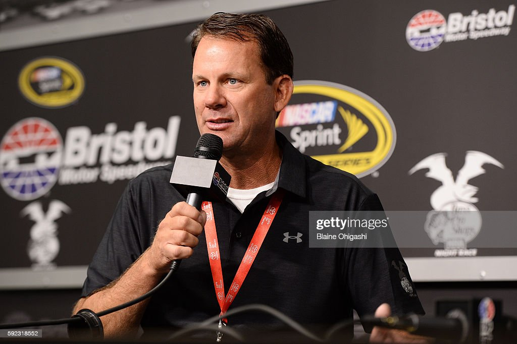 Kevin VanDam, Bass Pro Shops fisherman, speaks in a press conference during the NASCAR Sprint Cup Series Bass Pro Shops NRA Night Race at Bristol Motor Speedway on August 20, 2016 in Bristol, Tennessee.