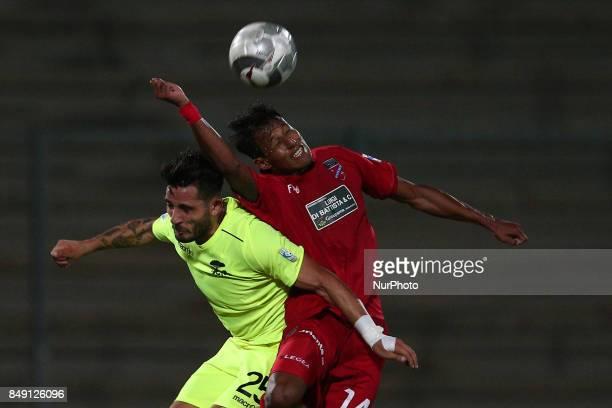 Kevin Varas of Teramo Calcio 1913 and Carmine De Sena of Ravenna FC compete for the ball during the Lega Pro 17/18 group B match between Teramo...