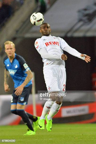 Kevin Vogt of Hoffenheim and Anthony Modeste of Koeln in action during the Bundesliga match between 1 FC Koeln and TSG 1899 Hoffenheim at...