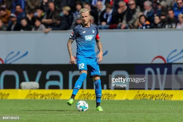 Kevin Vogt of Hoffenheim controls the ball during the Bundesliga match between TSG 1899 Hoffenheim and Hertha BSC at Wirsol RheinNeckarArena on...