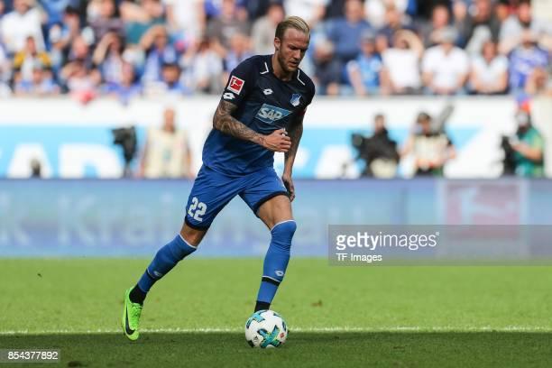 Kevin Vogt of Hoffenheim controls the ball during the Bundesliga match between TSG 1899 Hoffenheim and FC Schalke 04 at Wirsol RheinNeckarArena on...