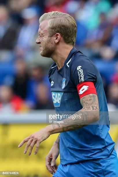 Kevin Vogt of Hoffenheim gestures during the Bundesliga match between TSG 1899 Hoffenheim and Hertha BSC at Wirsol RheinNeckarArena on September 17...