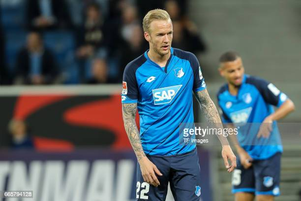 Kevin Vogt of Hoffenheim looks on during the Bundesliga match between TSG 1899 Hoffenheim and Bayern Muenchen at Wirsol RheinNeckarArena on April 4...