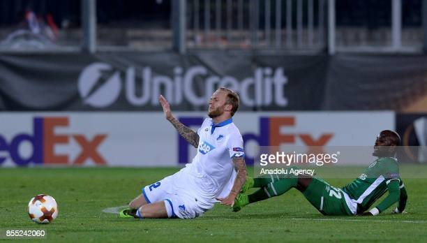 Kevin Vogt of TSG 1899 Hoffenheim in action against Jodi Lukoki of PFC Ludogorets during the UEFA Europa League Group C match between teams of PFC...